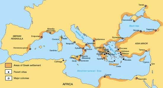 Areas of Greek settlement and major colonies
