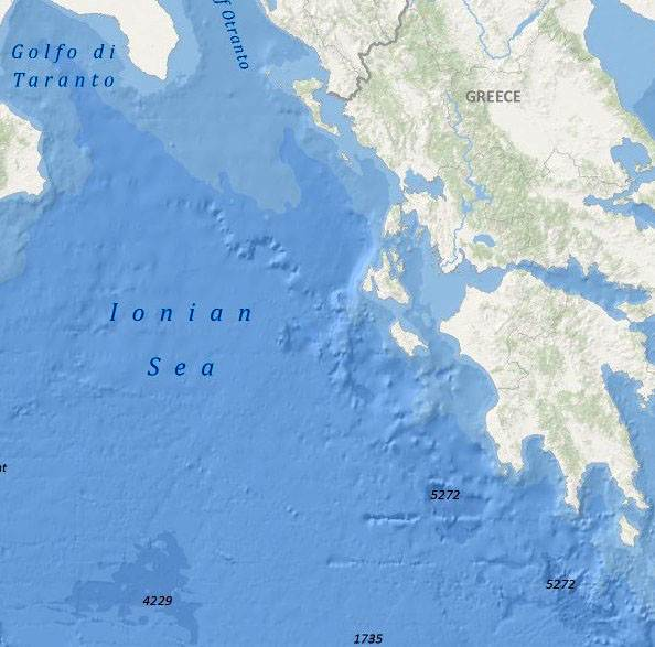 ionian sea bathymetry map